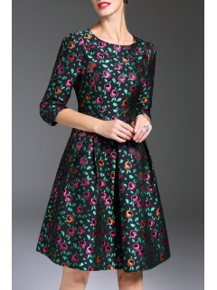 Jacquard Flower Fit And Flare Dress - Floral M