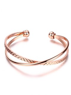 Crossover Engraved Bracelet - Rose Gold