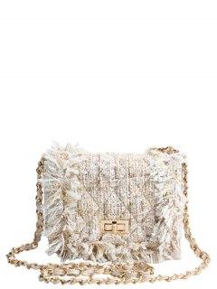 سلسلة أرجيل تويست قفل إغلاق حقيبة كروسبودي - أبيض فاتح