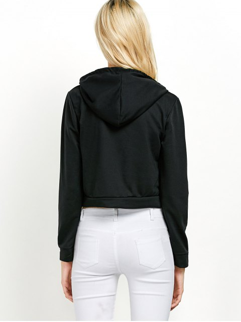 shop Hangover Cropped Hoodie - BLACK L Mobile
