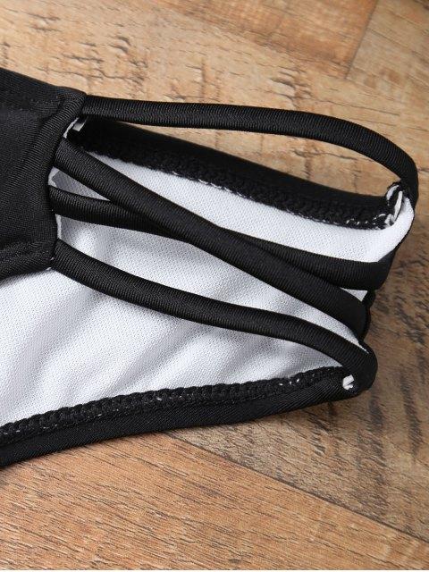ladies Halter Strappy Padded Bikini - BLACK S Mobile