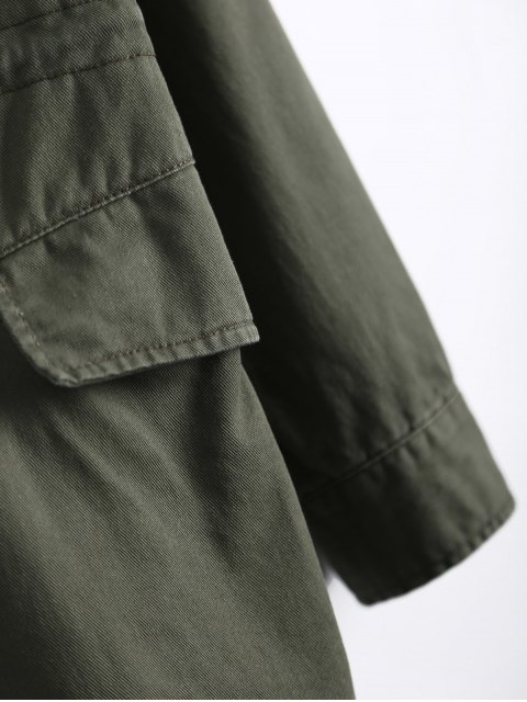 shop Star Patched Utility Jacket - ARMY GREEN 2XL Mobile