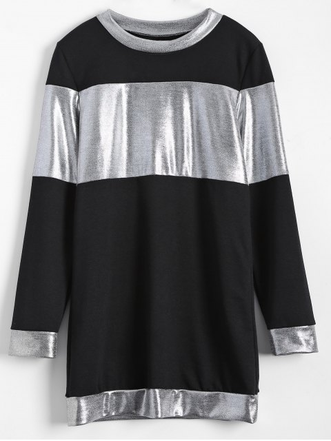 shop Metallic Color Long Sleeve Mini Dress - BLACK L Mobile