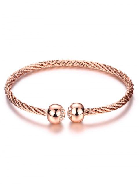 shop Rhinestone Twisted Cuff Bracelet - ROSE GOLD  Mobile