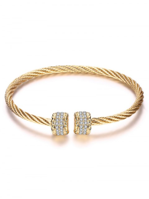 fashion Twisted Wire Cuff Bracelet - CHAMPAGNE GOLD  Mobile