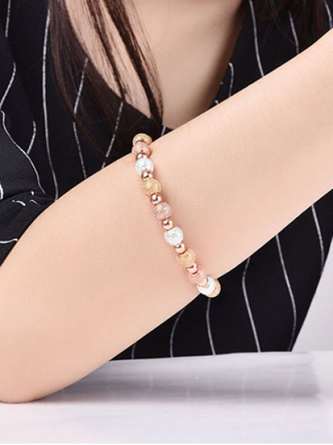 chic Dull Polished Beads Bracelet - CHAMPAGNE GOLD  Mobile