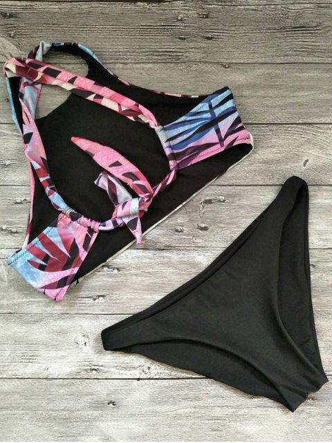 fancy Loop Tie Back High Neck Bikini - MULTICOLOR M Mobile