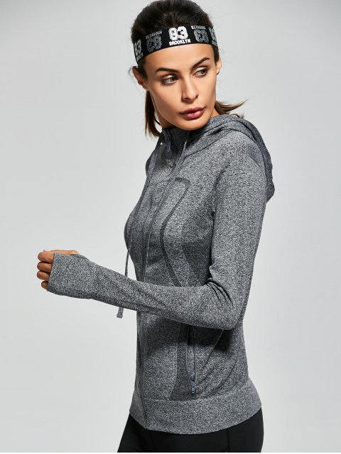 shops Hooded Zip Running Jacket - GRAY S Mobile