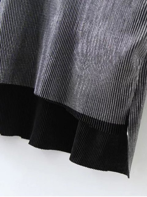 women Metallic Color High Low Pleated T-Shirt - FROST S Mobile