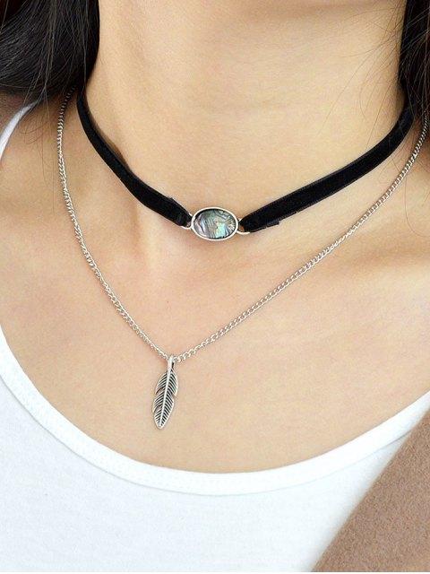 unique Leaf Layered Oval Faux Gem Necklace - BLACK  Mobile