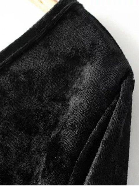 trendy One Sleeve Velvet Skew Neck Bodysuit - BLACK L Mobile