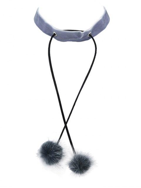 affordable Fuzzy Ball Velvet Choker Necklace -   Mobile