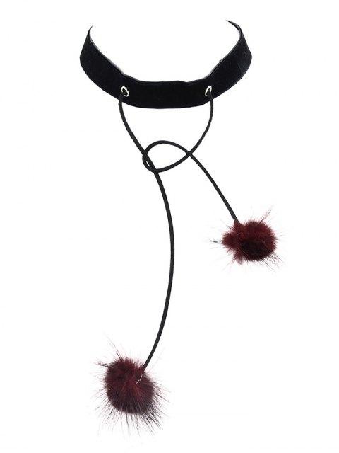 buy Fuzzy Ball Velvet Choker Necklace -   Mobile