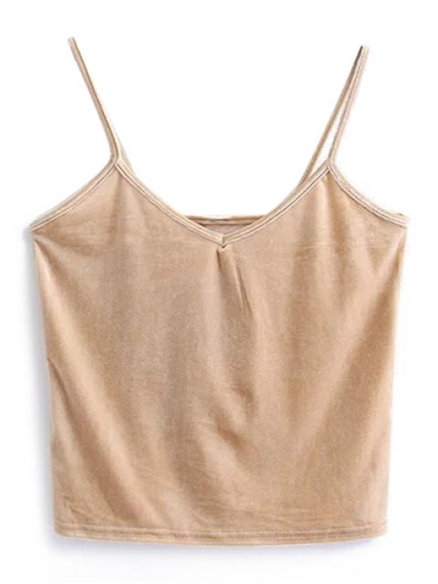 lady Camisole Velvet Top - KHAKI ONE SIZE Mobile