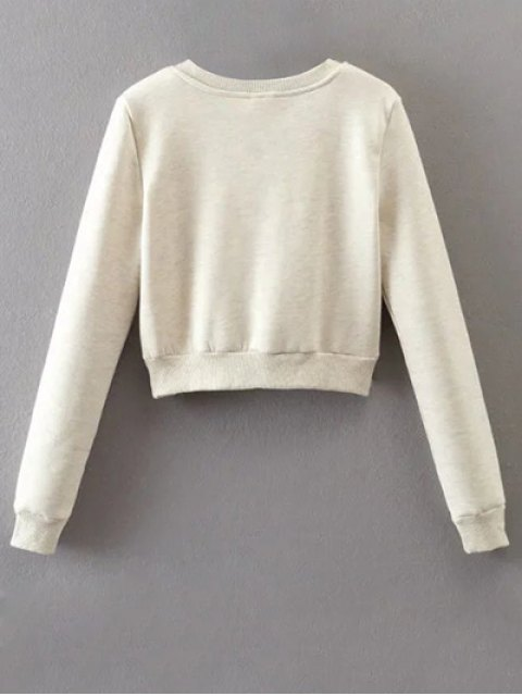 women Lace Up Fleece Lining Sweatshirt - OFF-WHITE M Mobile