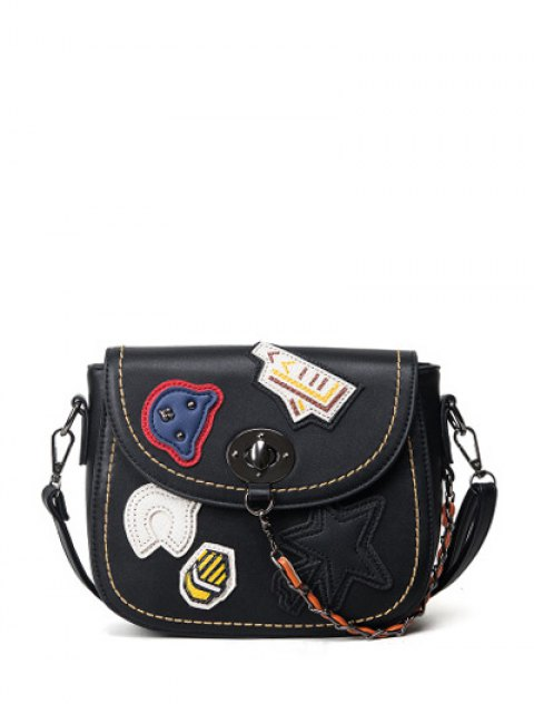 shops Patches Chains Crossbody Bag - BLACK  Mobile