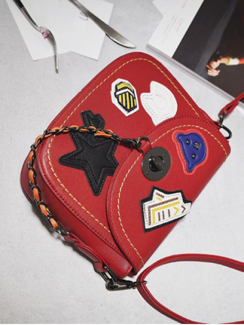 latest Patches Chains Crossbody Bag - RED  Mobile