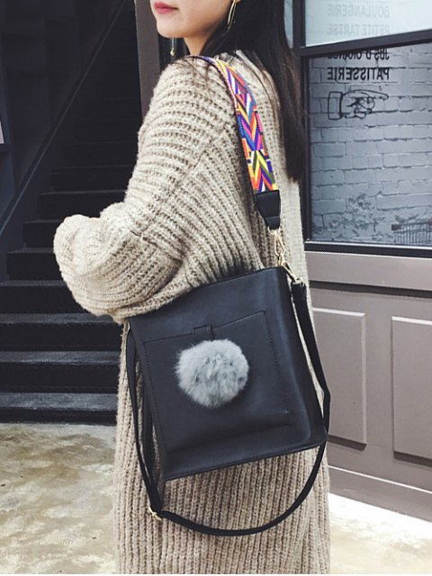 online Colorful Strap Pompon Shoulder Bag - BLACK  Mobile