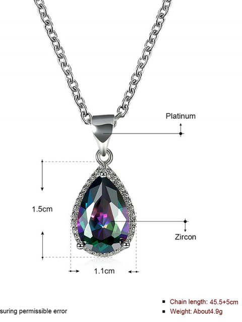 chic Artificial Crystal Gemstone Teardrop Pendant Necklace -   Mobile