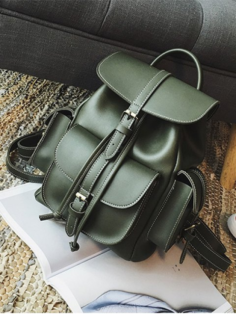 hot Multi Pockets Buckle Straps Backpack - GREEN  Mobile