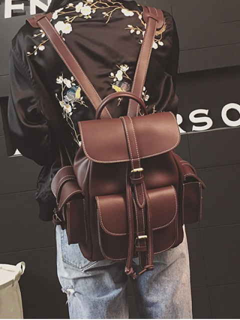 outfit Multi Pockets Buckle Straps Backpack - DEEP BROWN  Mobile