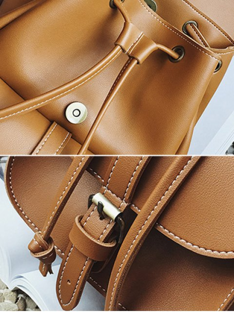 outfits Multi Pockets Buckle Straps Backpack - BROWN  Mobile