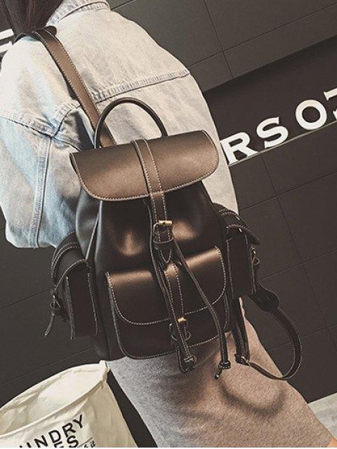 shop Multi Pockets Buckle Straps Backpack - BLACK  Mobile