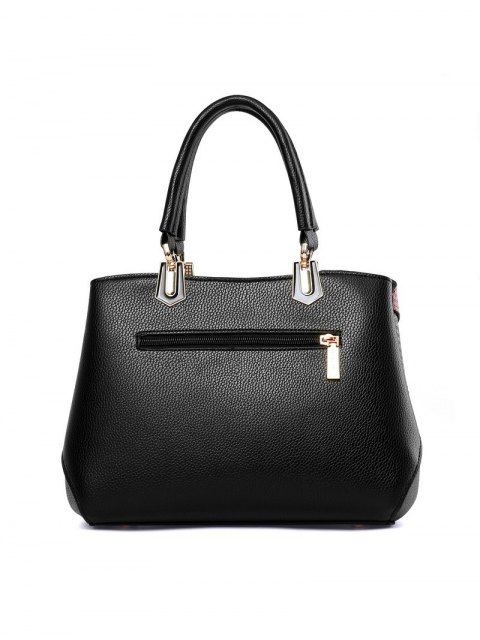 lady Colored Stripes PU Leather Handbag - PINK  Mobile