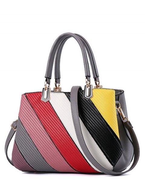 best Colored Stripes PU Leather Handbag - GRAY  Mobile
