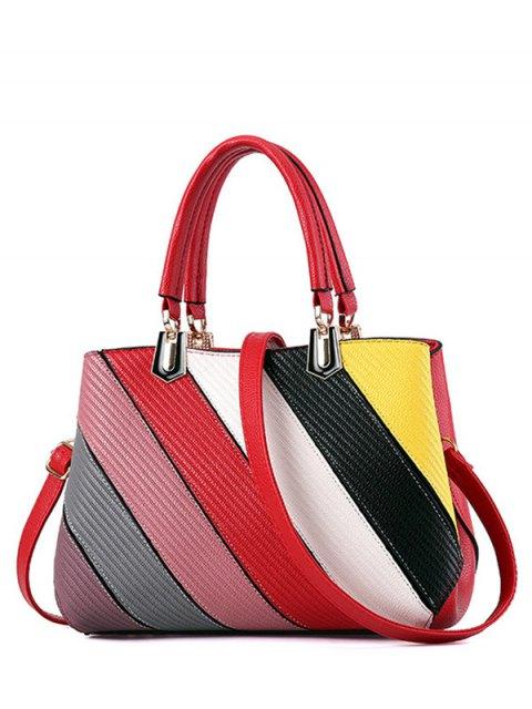new Colored Stripes PU Leather Handbag -   Mobile