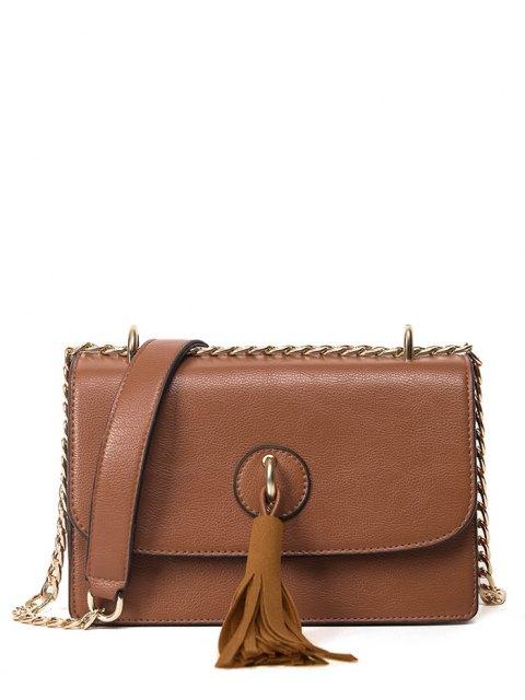 fancy Tassel Chains Cross Body Bag - BROWN  Mobile