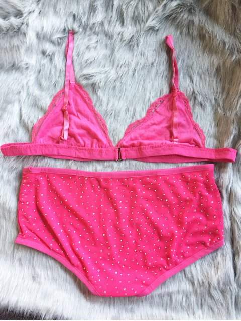 ladies Hot Fix Rhinestone High Waisted Bra Set - RED XL Mobile