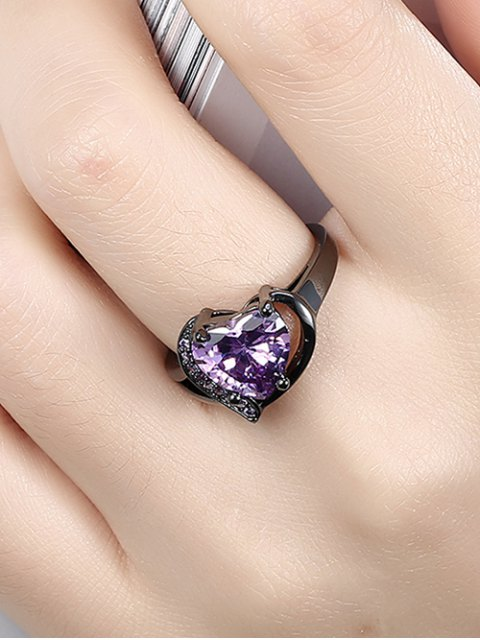 outfit Rhinestoned Heart Shape Ring - PURPLE 6 Mobile