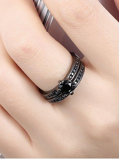 affordable 2PCS Rhinestoned Rings - BLACK 7 Mobile
