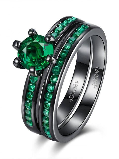 ladies 2PCS Rhinestoned Rings - GREEN 6 Mobile