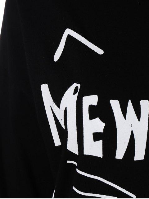 women's Long Sleeve Cartoon Letter T-Shirt - BLACK XL Mobile