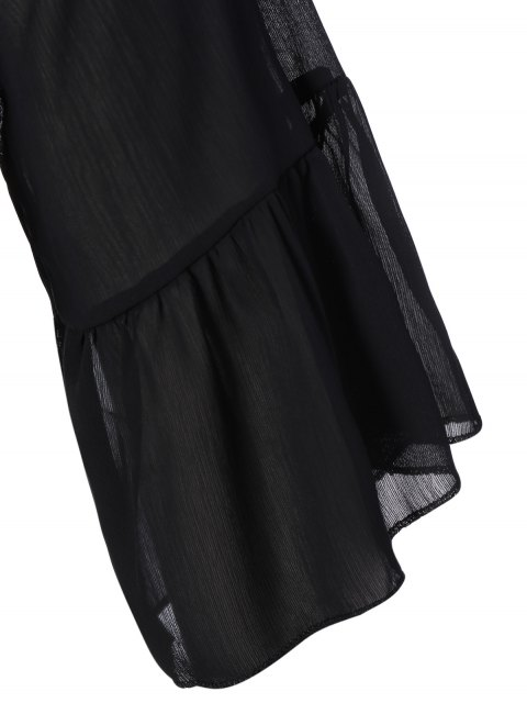 fashion V Neck Shirred Cold Shoulder Dress - BLACK XL Mobile
