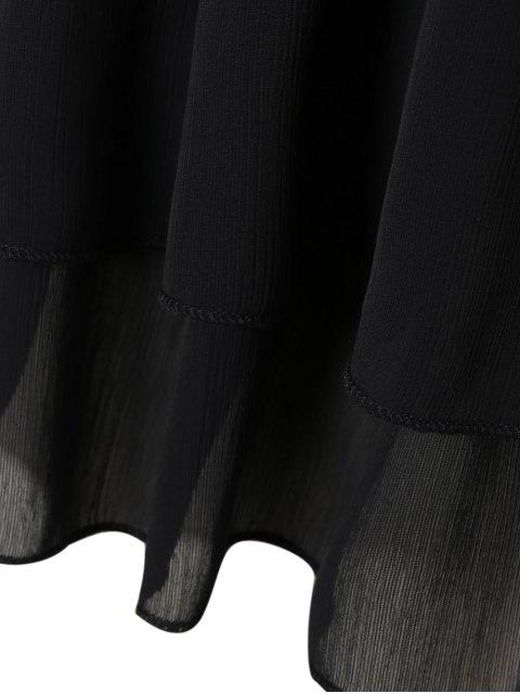 shops V Neck Shirred Cold Shoulder Dress - BLACK 4XL Mobile