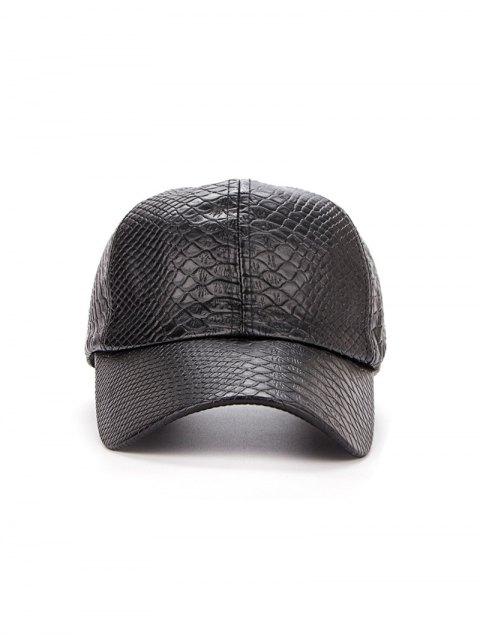 best Casual Crocodile PU Leather Baseball Hat - BLACK  Mobile