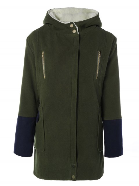online Hooded Faux Shearling Color Block Coat - OLIVE GREEN S Mobile