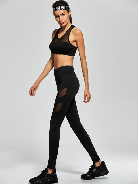 latest Mesh Panel Tank Top and Stretch Pants Yoga Suit - BLACK L Mobile