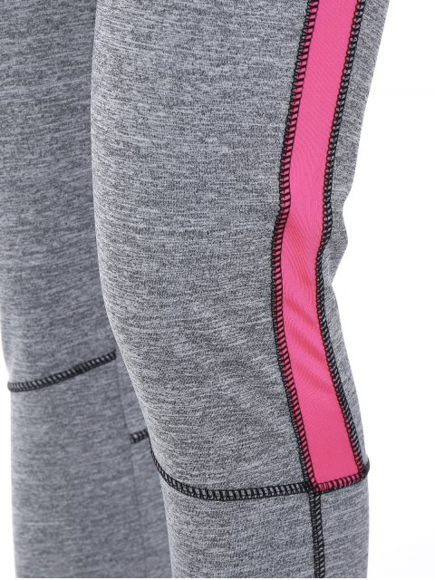 online High Rise Color Block Sporty Running Leggings - PINK L Mobile