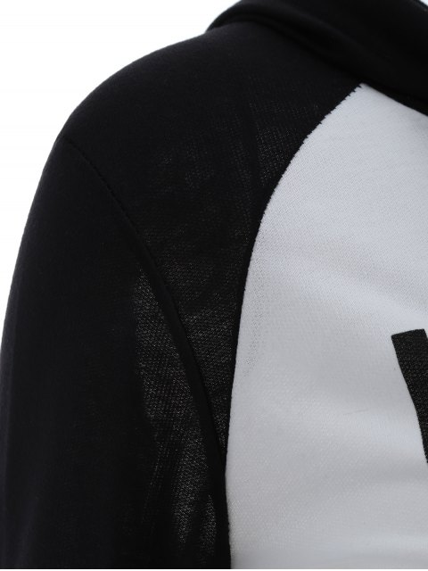 affordable Frayed Raglan Sleeve Cropped Hoodie - WHITE AND BLACK L Mobile