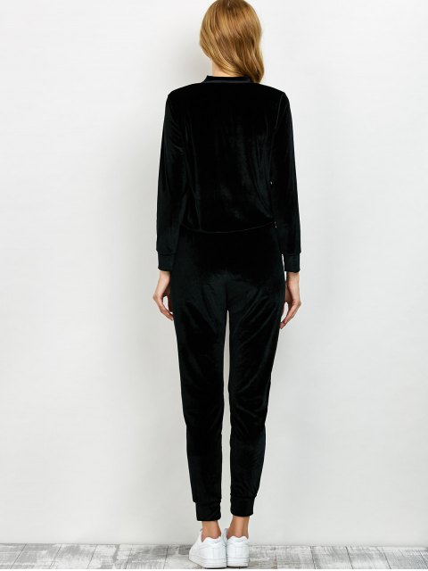 outfits Velvet Sweatshirt and Pants with Zipper - BLACK XL Mobile