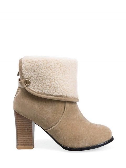 new Snaps Zipper Chunky Heel Short Boots - LIGHT KHAKI 39 Mobile