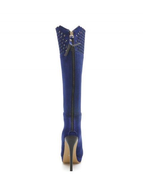 latest Hollow Out Zipper Platform Boots - BLUE 39 Mobile