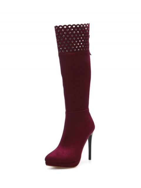 affordable Hollow Out Zipper Platform Boots - BURGUNDY 37 Mobile