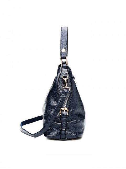 trendy Textured Leather Metal Double Buckle Tote Bag -   Mobile
