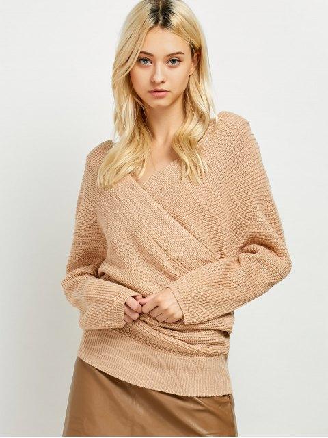 lady Wrap Front Sweater - KHAKI ONE SIZE Mobile
