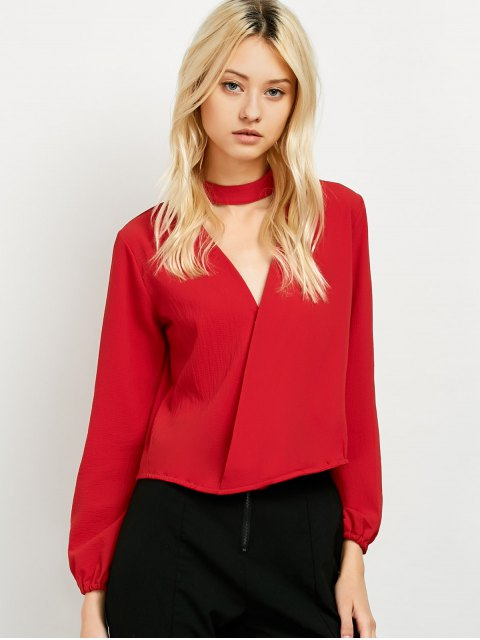 affordable Long Sleeve Chiffon Surplice Choker Blouse - RED S Mobile